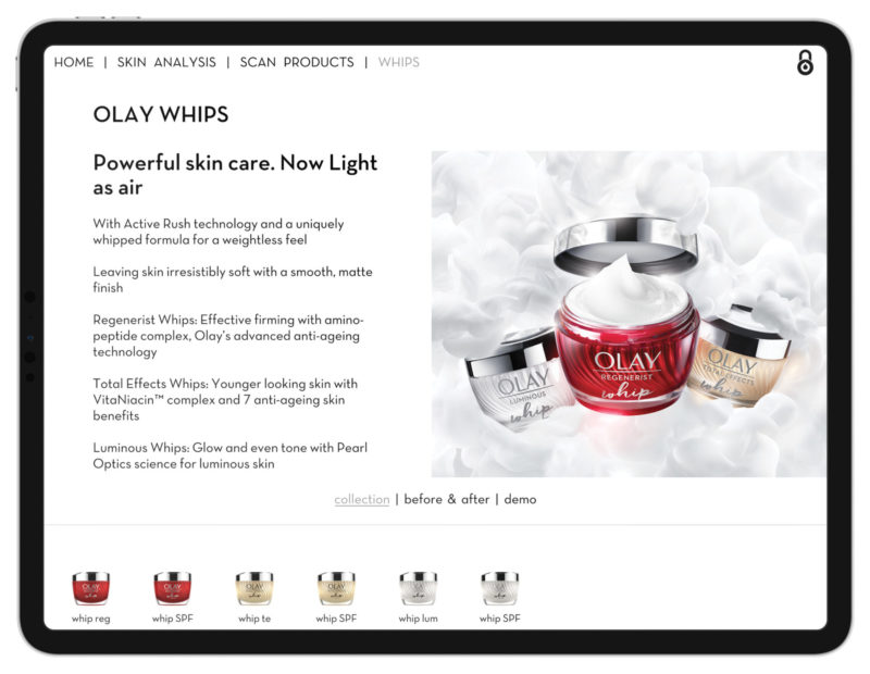 Olay Whips Collection Screen